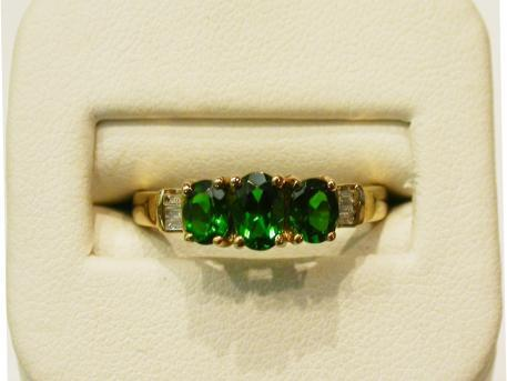 3-Stone Chrome Diopside Ring - Chrome diopsides set in 10ky gold ring with diamond accents. Please call for current price.