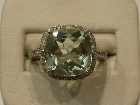 Prasiolite Ring - Cushion-cut prasiolite set in 14kw gold with diamond halo. Please call for current price.