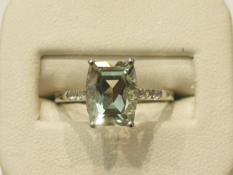 Prasiolite Ring - Prasiolite set in 14kw gold with diamond accents. Please call for current price.
