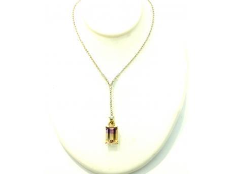 Ametrine Pendant - Emerald cut ametrine set in 14ky gold. Pictured with separately priced 14kw gold cable hook chain with diamond accents. Please call for current price.