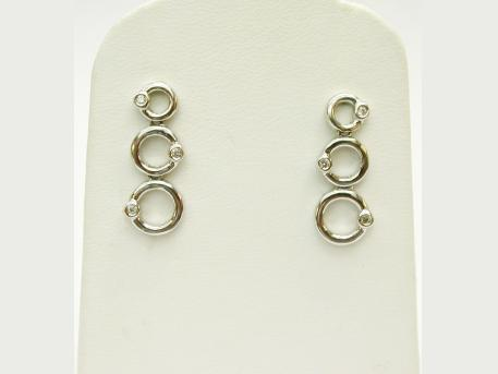 Post Earrings - Sterling silver earrings with diamond accents by Kate McCullar. Please call for current price.